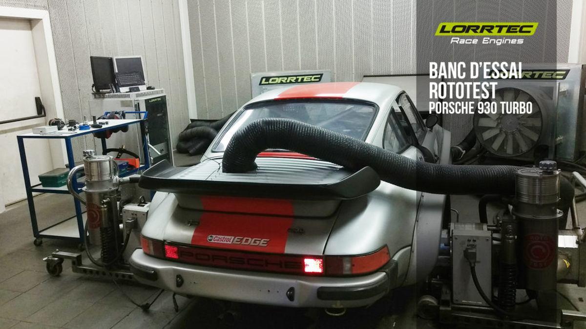 passage au banc d'essai rototest et réglage d'une Porsche 930 Turbo gr4